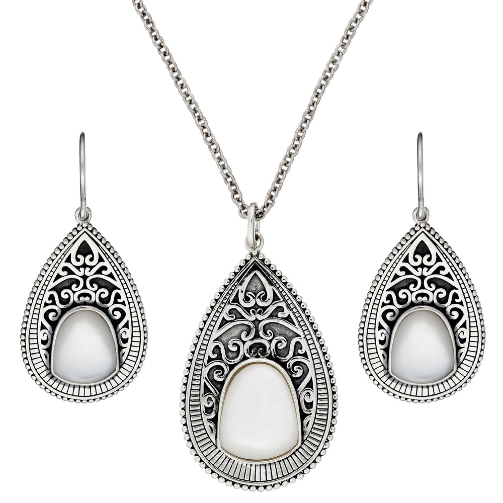 Sterling Silver Mother of Pearl Filigree Teardrop Set