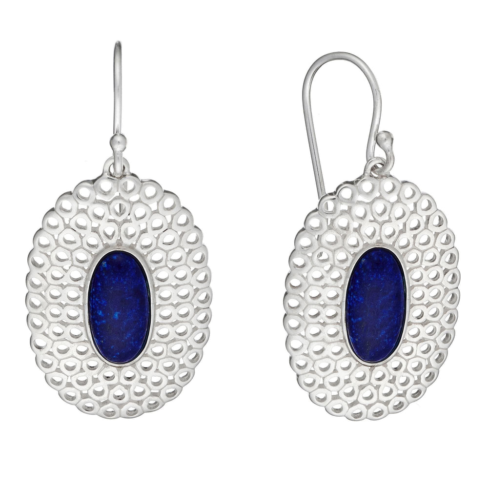 Sterling Silver Blue Lapis Oval Filigree Long Dangle Earrings