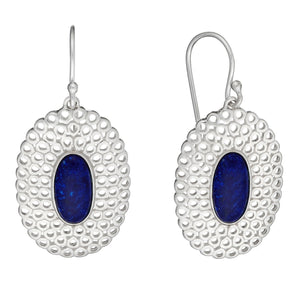 Load image into Gallery viewer, Sterling Silver Blue Lapis Oval Filigree Long Dangle Earrings