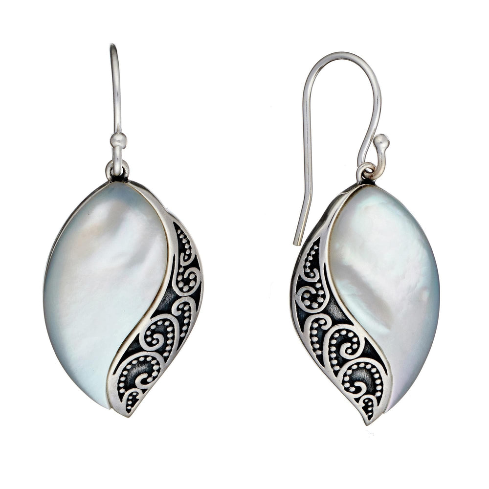 Sterling Silver White MOP Filigree Marquise Dangle Earrings