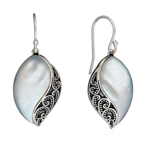Load image into Gallery viewer, Sterling Silver White MOP Filigree Marquise Dangle Earrings