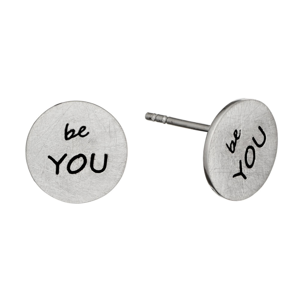 Sterling Silver Matte Finish Round Disc 'Be You' Stud Earrings