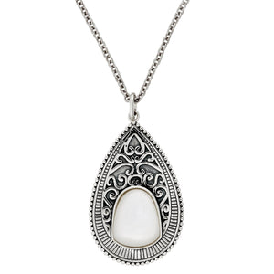 Load image into Gallery viewer, Sterling Silver Mother of Pearl Filigree Teardrop Set