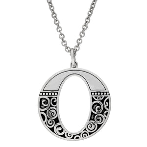Load image into Gallery viewer, Sterling Silver Open Oval Spiral Pendant Necklace
