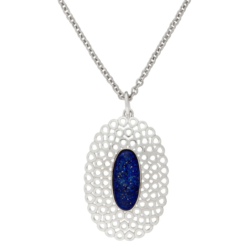 Sterling Silver Blue Lapis Oval Filigree Long Pendant Necklace