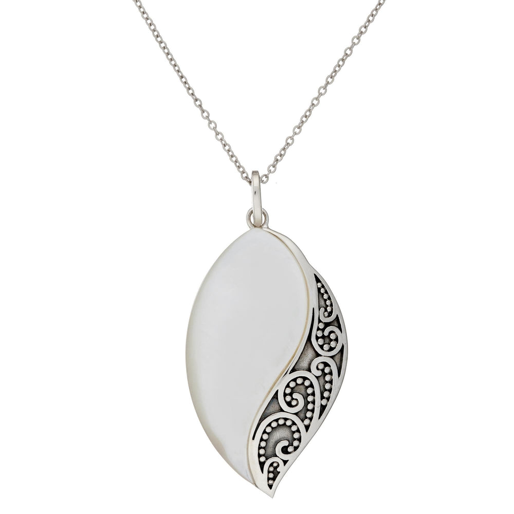 Sterling Silver White MOP Filigree Marquise Necklace