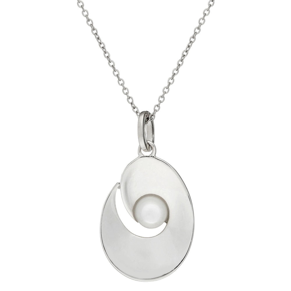 Sterling Silver White MOP Shell Oval Oyster Elegant Pendant Necklace