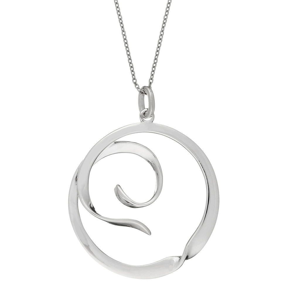Sterling Silver Round Swirl Twist Circle Pendant Necklace