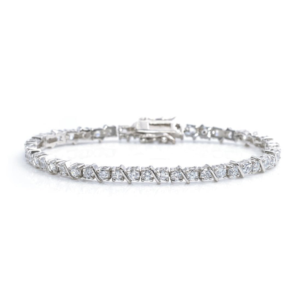 Sterling Silver 3 mm Cubic Zirconia Tennis Bracelet - Silverly