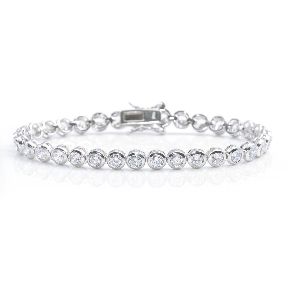 Sterling Silver 5 mm Round Cubic Zirconia Tennis Bracelet - Silverly
