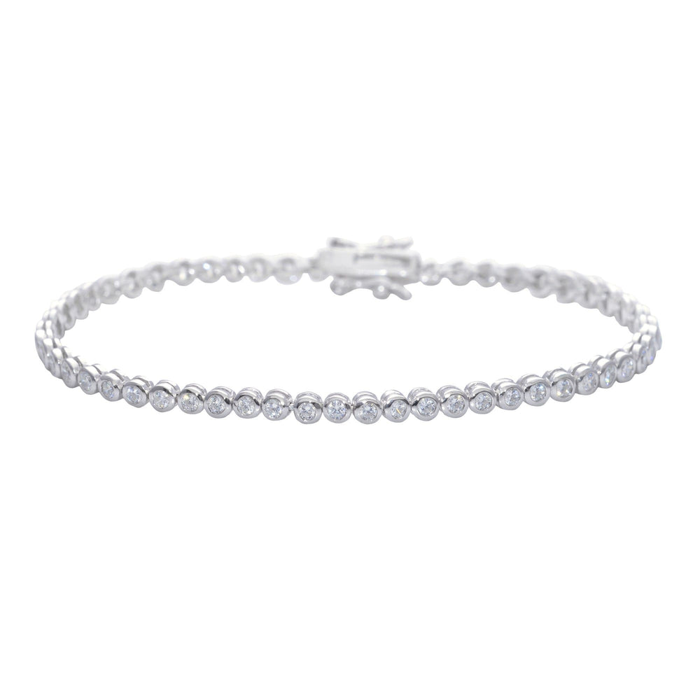 Load image into Gallery viewer, Sterling Silver Cubic Zirconia Thin Round Tennis Bracelet