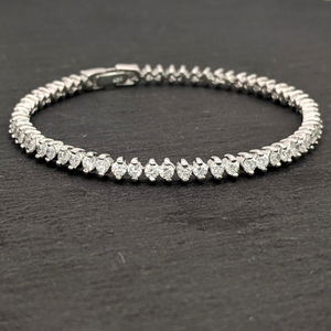 Load image into Gallery viewer, Sterling Silver Cubic Zirconia Prong Tennis Bracelet