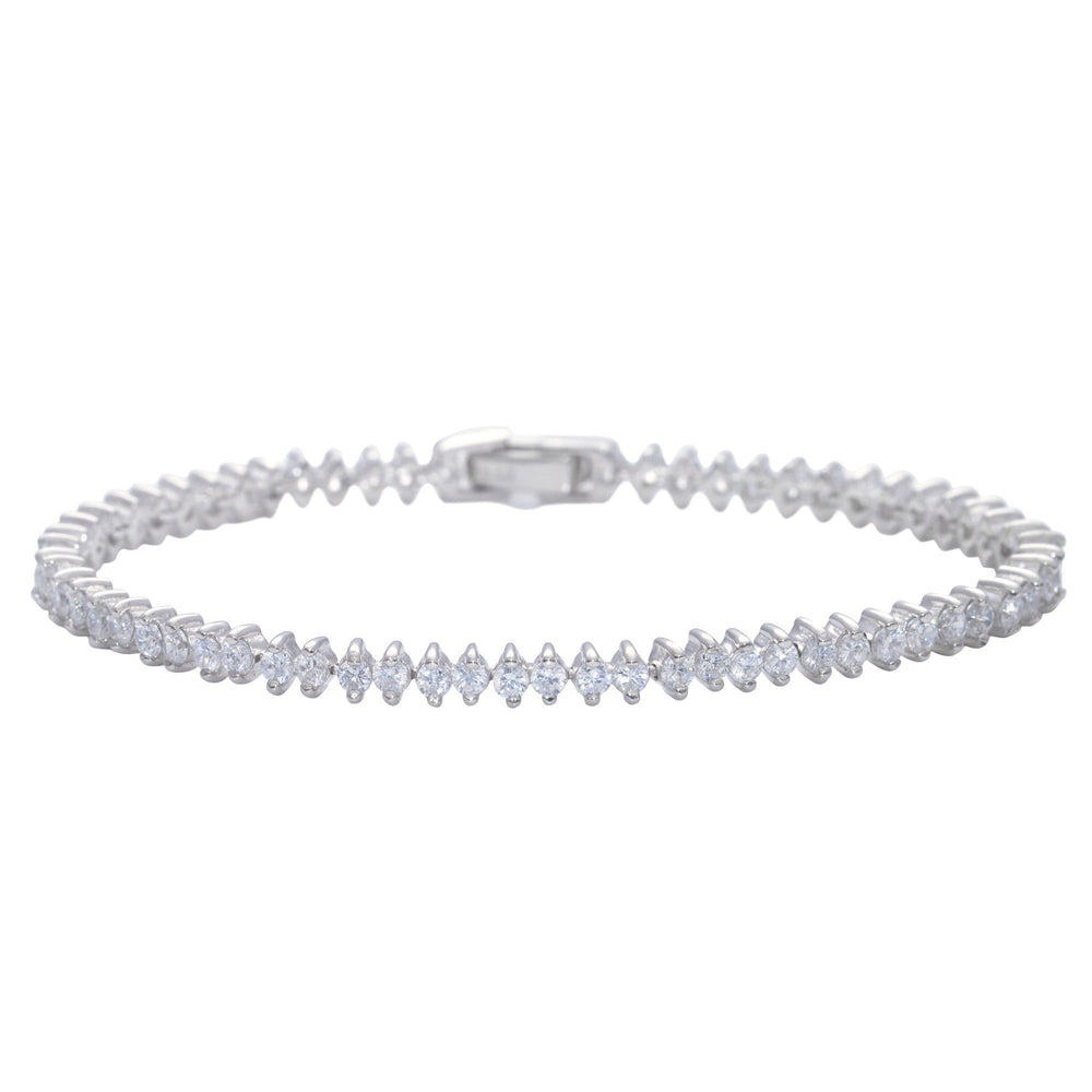 Sterling Silver Cubic Zirconia Prong Tennis Bracelet - Silverly
