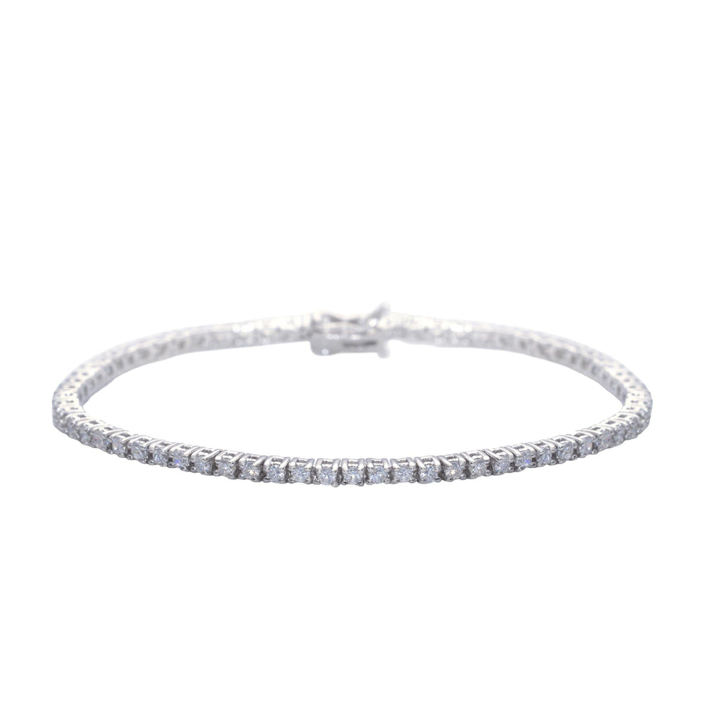 Sterling Silver Cubic Zirconia Thin Prong Tennis Bracelet - Silverly