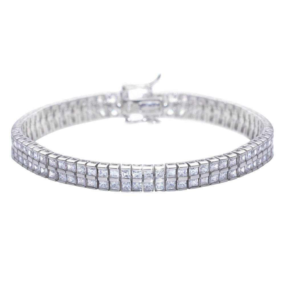 Sterling Silver CZ Square Double Tennis Bracelet - Silverly