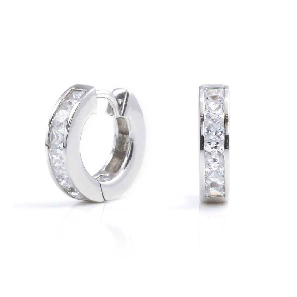 Sterling Silver Cubic Zirconia 14mm Hoop Huggie Earrings - Silverly