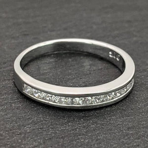 Load image into Gallery viewer, Sterling Silver CZ Half Eternity Engagement Wedding Ring