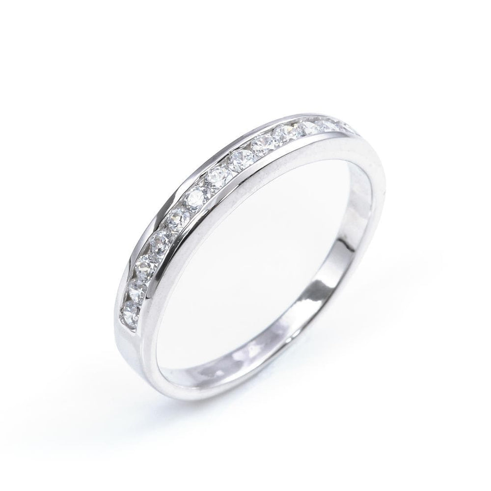 Sterling Silver CZ Half Eternity Engagement Wedding Ring - Silverly