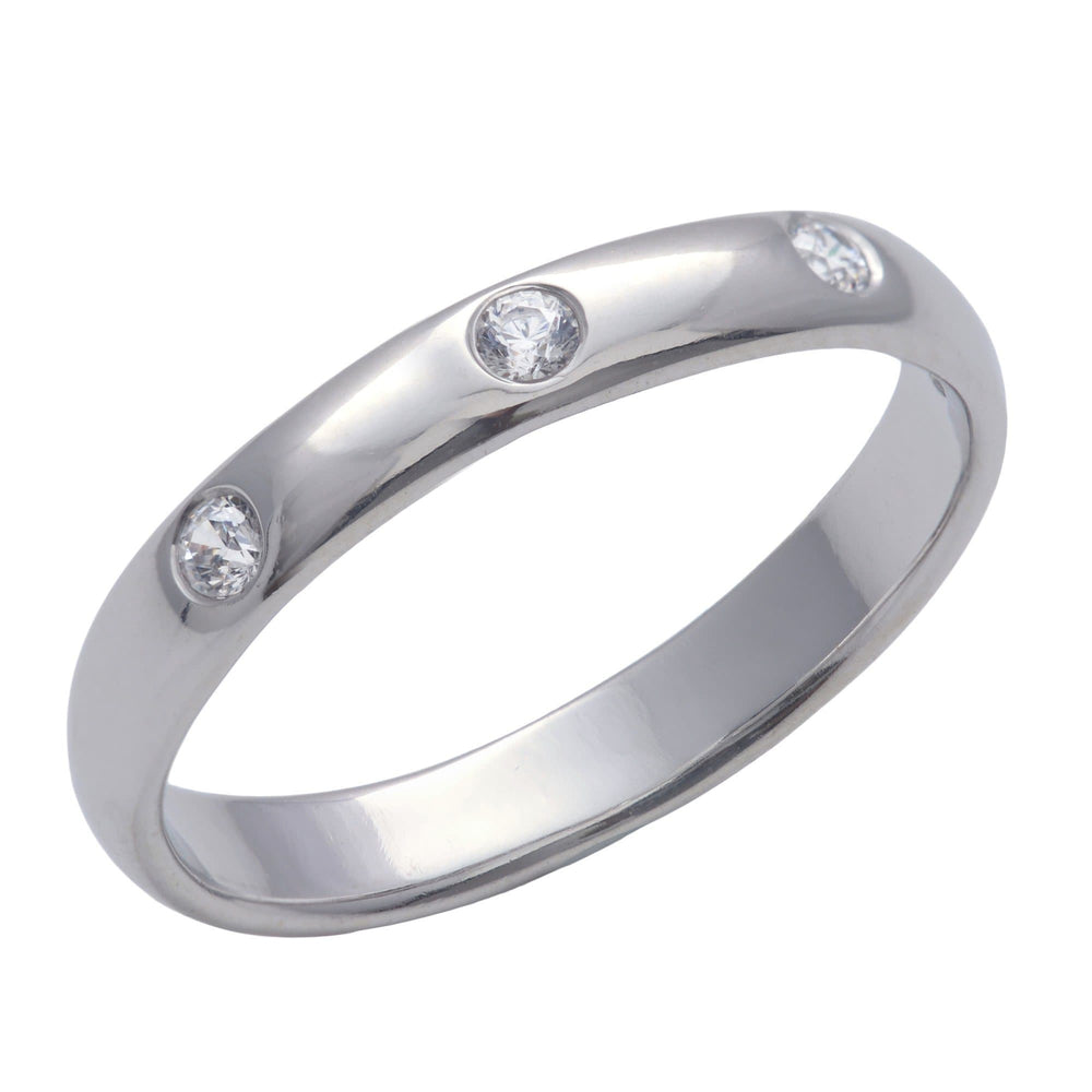 Sterling Silver 3 Cubic Zirconia Flush - Silverly
