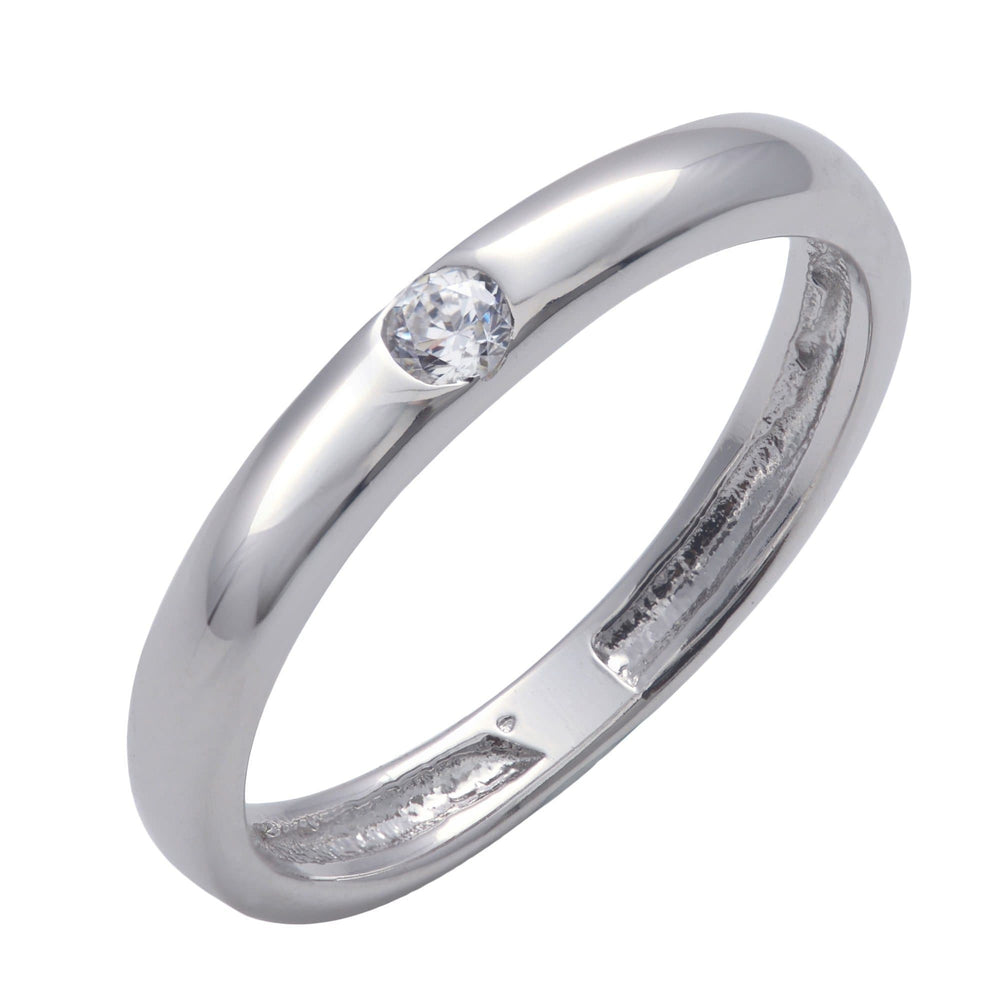 Sterling Silver Cubic Zirconia Solitaire Flush Band Ring - Silverly