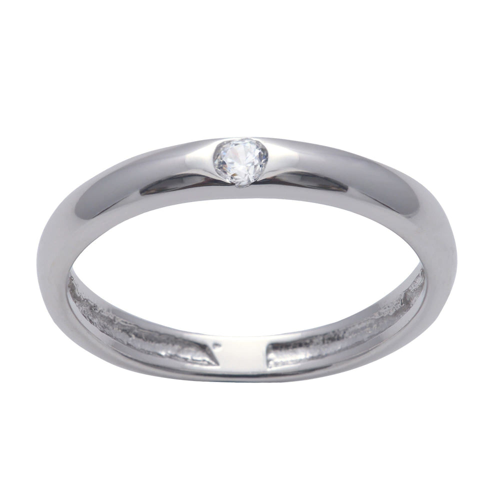Load image into Gallery viewer, Sterling Silver Cubic Zirconia Solitaire Flush Band Ring - Silverly