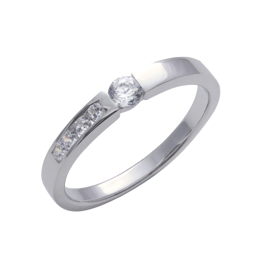 Sterling Silver 5 Cubic Zirconia Channel Engagement Ring - Silverly