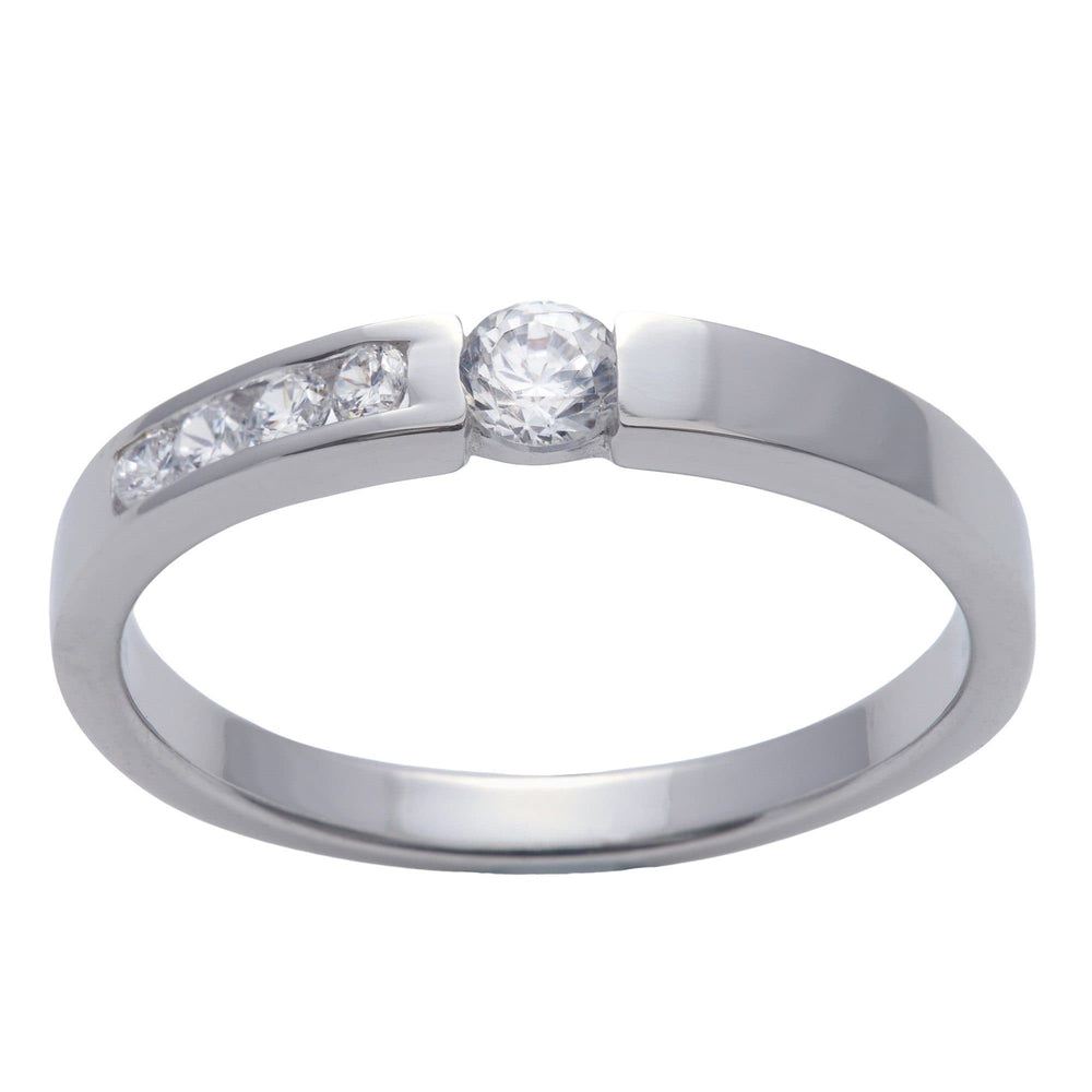 Load image into Gallery viewer, Sterling Silver 5 Cubic Zirconia Channel Engagement Ring