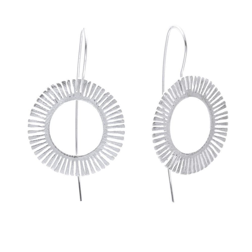 Sterling Silver Round Sun Halo Earrings - Silverly