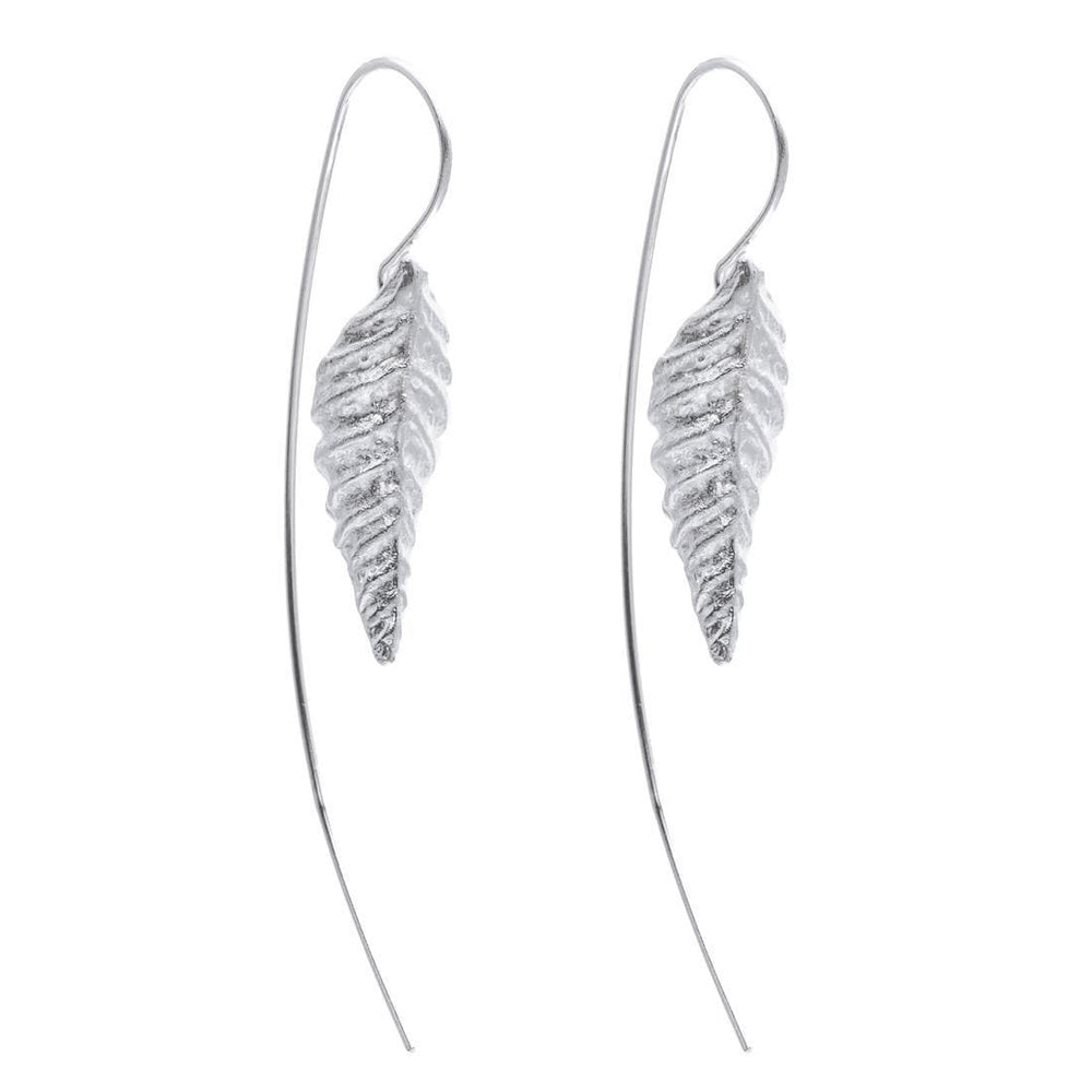Load image into Gallery viewer, Sterling Silver Curved Leaf Drop Earrings - Silverly