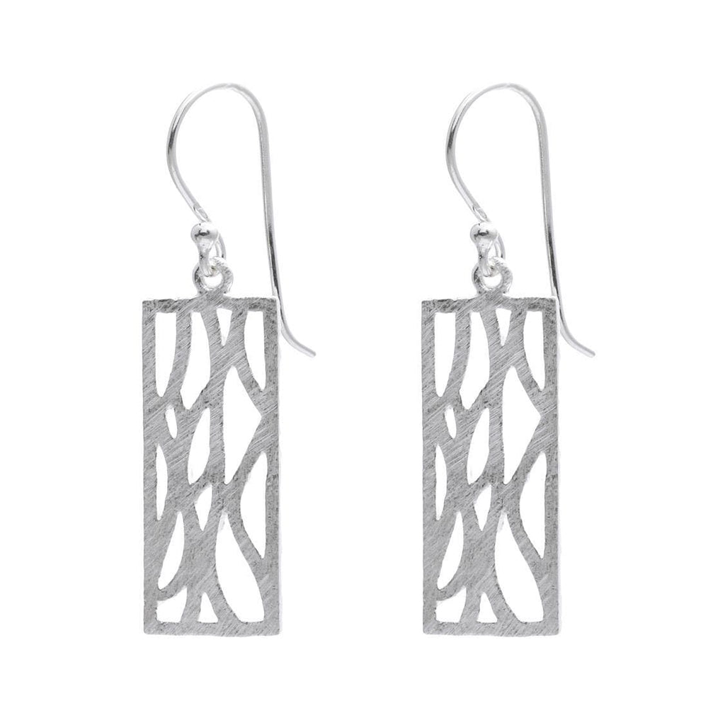 Sterling Silver Rectangle Filigree Earrings - Silverly