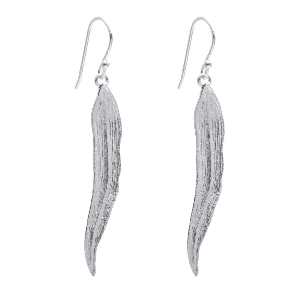 Sterling Silver Feather Satin Earrings - Silverly