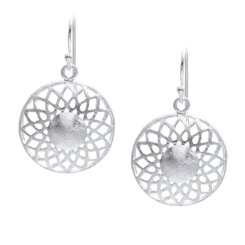 Sterling Silver Round Filigree Sun Earrings - Silverly