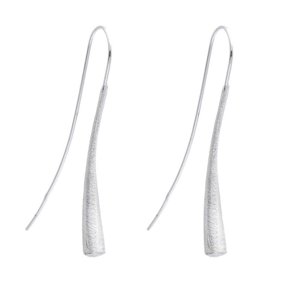 Sterling Silver Curved Long Earrings - Silverly