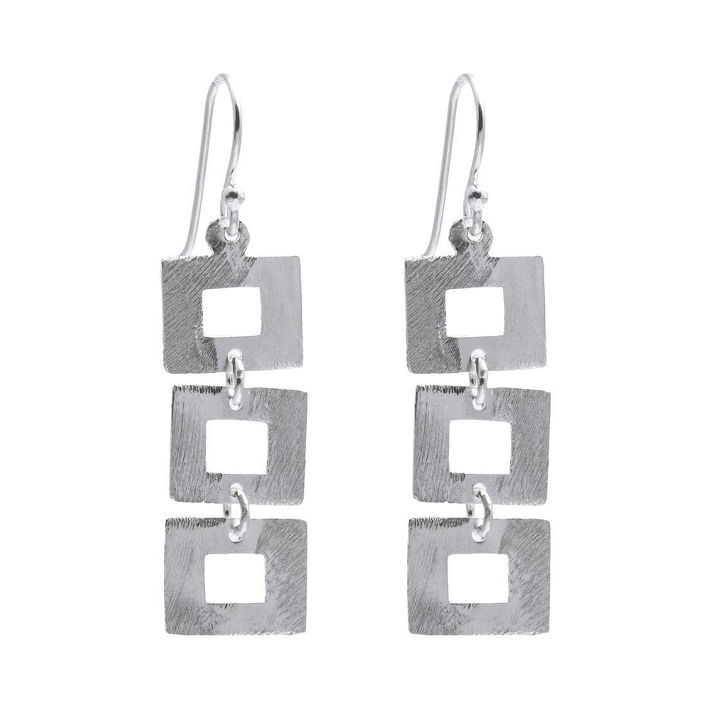 Sterling Silver Open Square Chain Earrings - Silverly