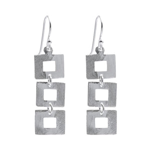 Load image into Gallery viewer, Sterling Silver Open Square Chain Earrings - Silverly