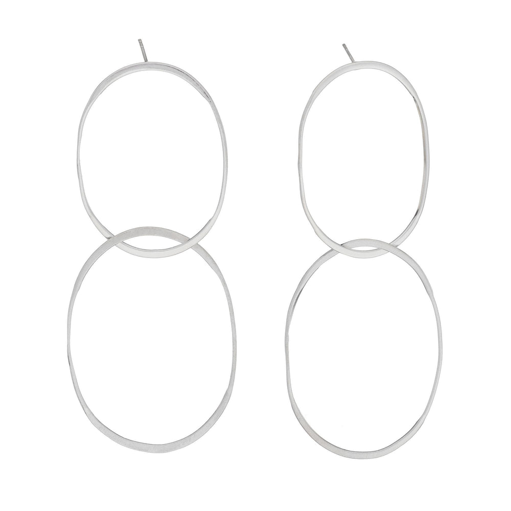 Load image into Gallery viewer, Sterling Silver Double Oval Dangle Stud Earrings - Silverly