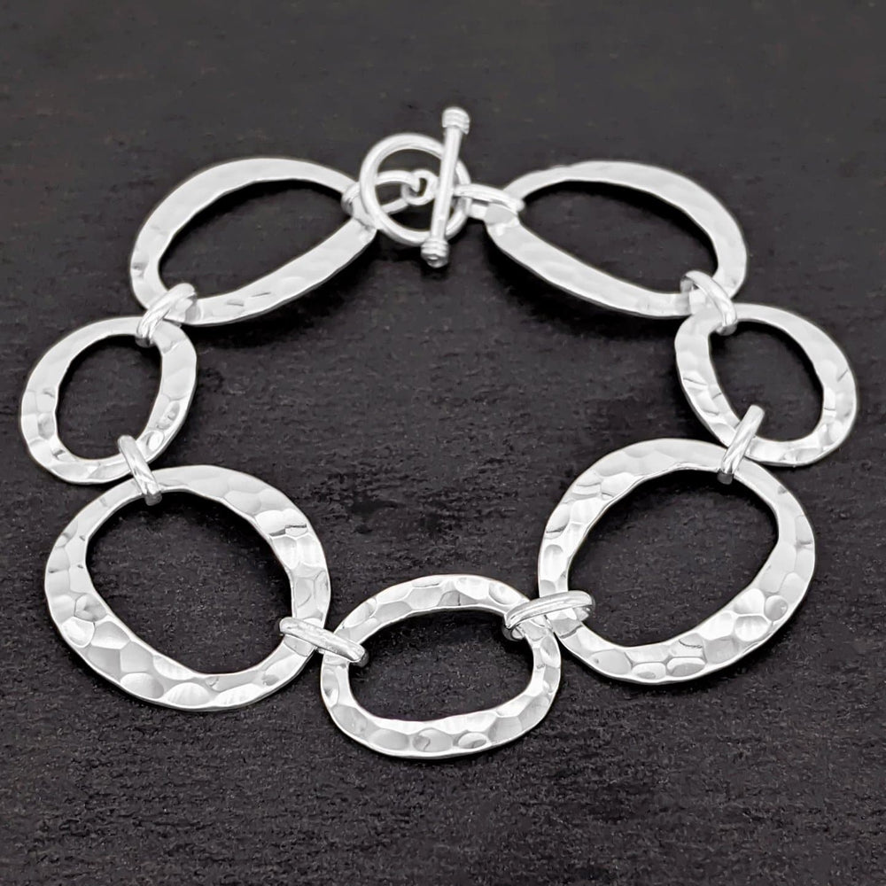 Load image into Gallery viewer, Sterling Silver Oval Circles Link T-bar Bracelet