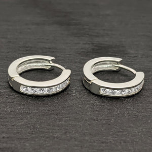 Load image into Gallery viewer, Sterling Silver Cubic Zirconia Hoop Earrings