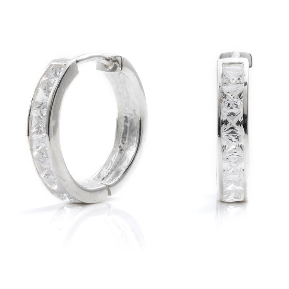 Sterling Silver Cubic Zirconia Hoop Earrings - Silverly