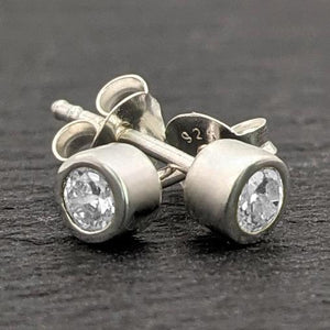 Load image into Gallery viewer, Sterling Silver CZ 4 mm Stud Earrings