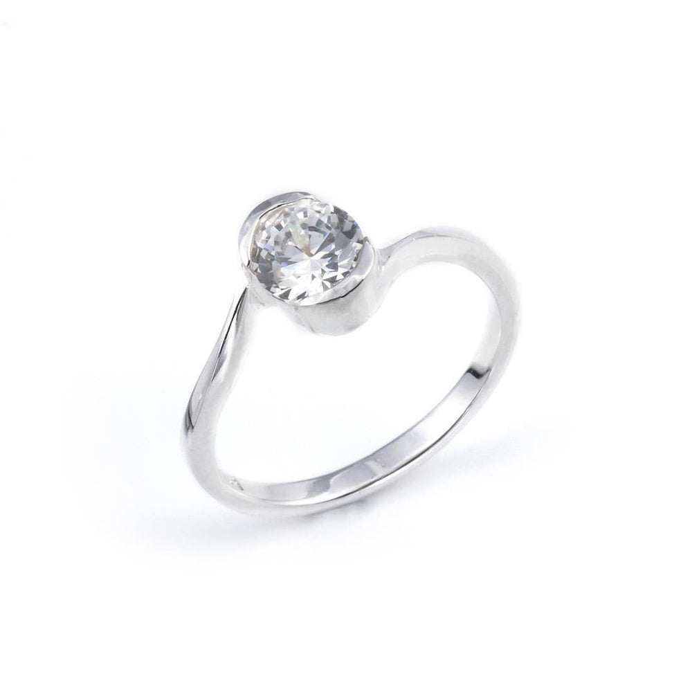 Sterling Silver Oval CZ Ring - Silverly