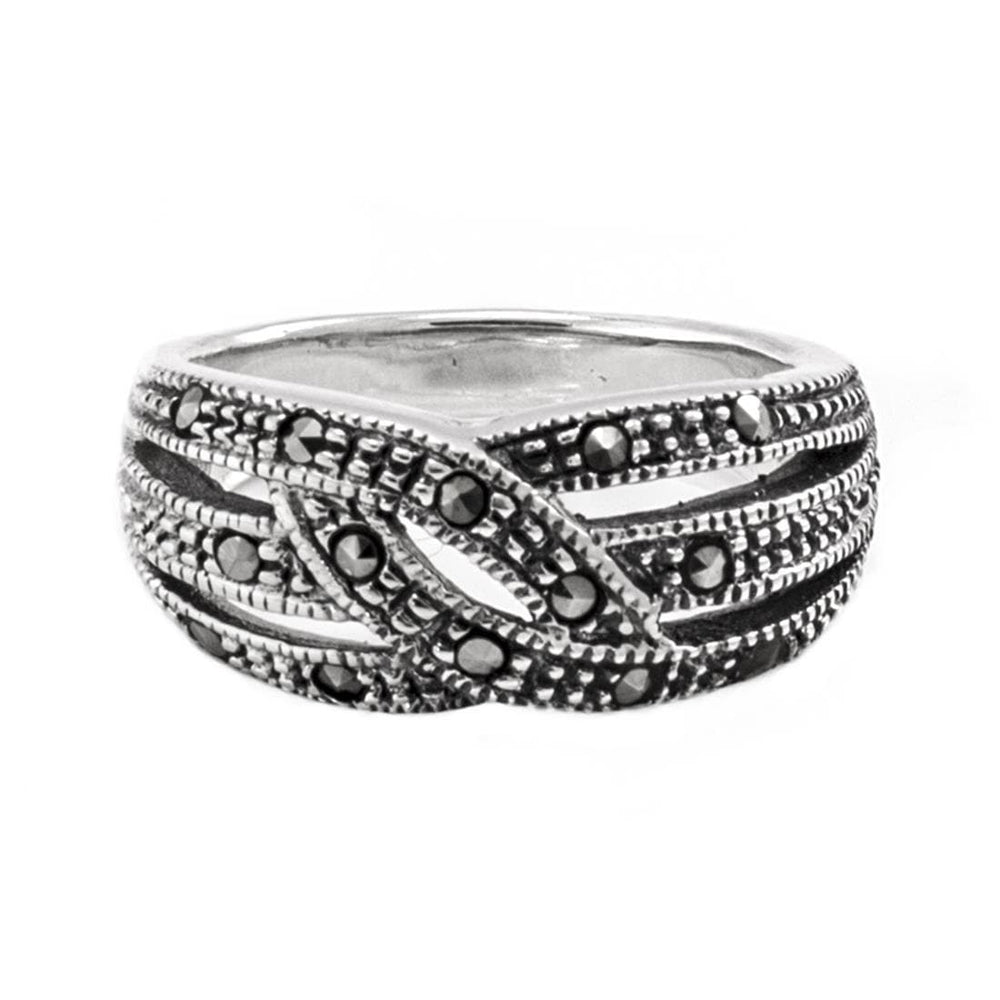 Sterling Silver Swiss Marcasite Ring - Silverly