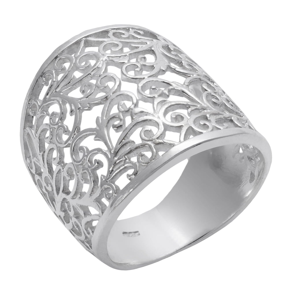 Sterling Silver Wide Filigree Swirl Vine Ring - Silverly