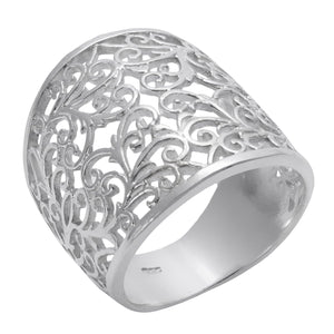Load image into Gallery viewer, Sterling Silver Wide Filigree Swirl Vine Ring - Silverly