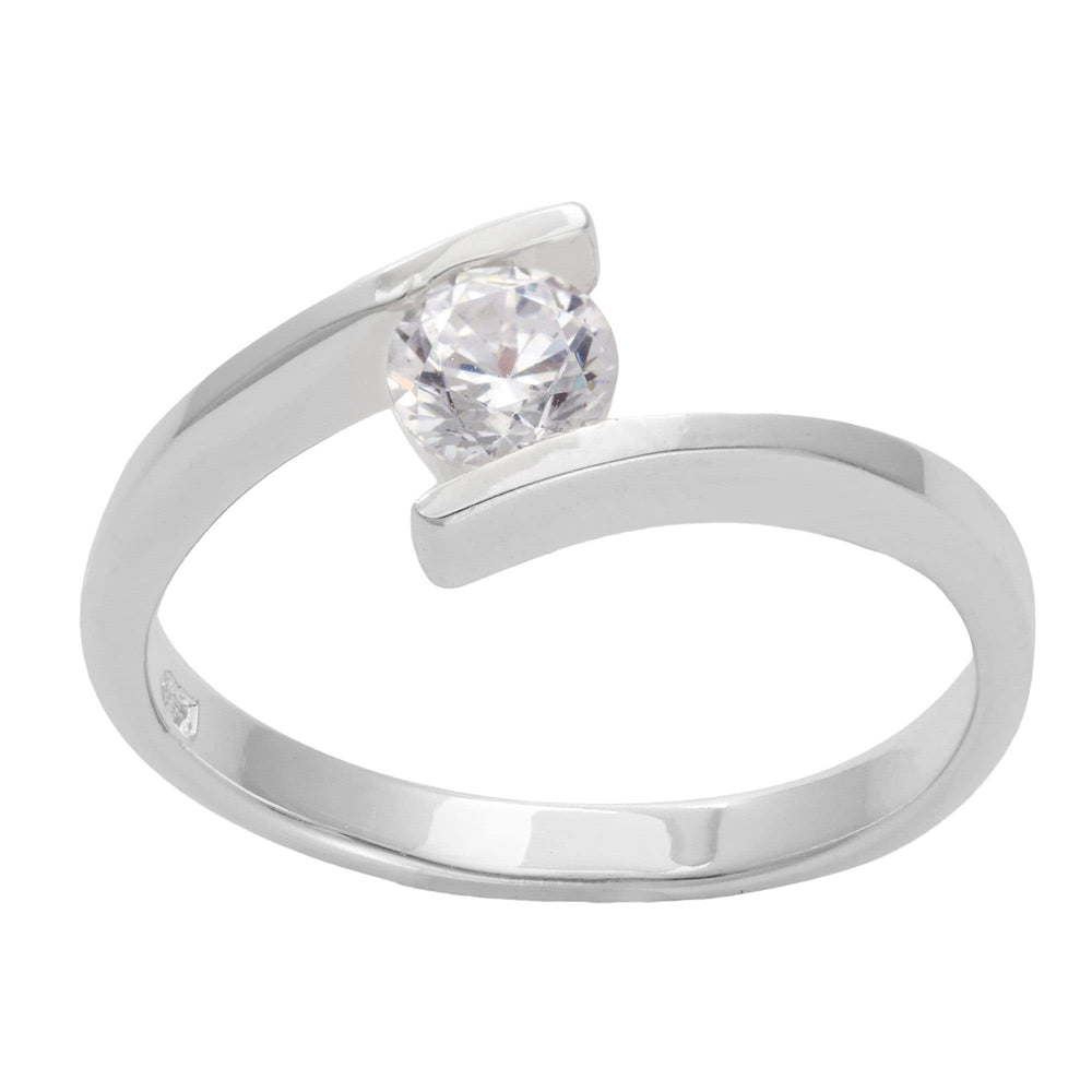 Load image into Gallery viewer, Sterling Silver Cubic Zirconia Round Engagement Ring