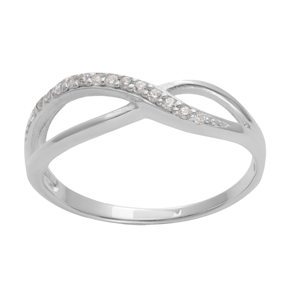 Sterling Silver 14 CZ Infinity Pinpoint Engagement Ring