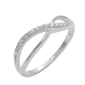 Load image into Gallery viewer, Sterling Silver 14 CZ Infinity Pinpoint Engagement Ring