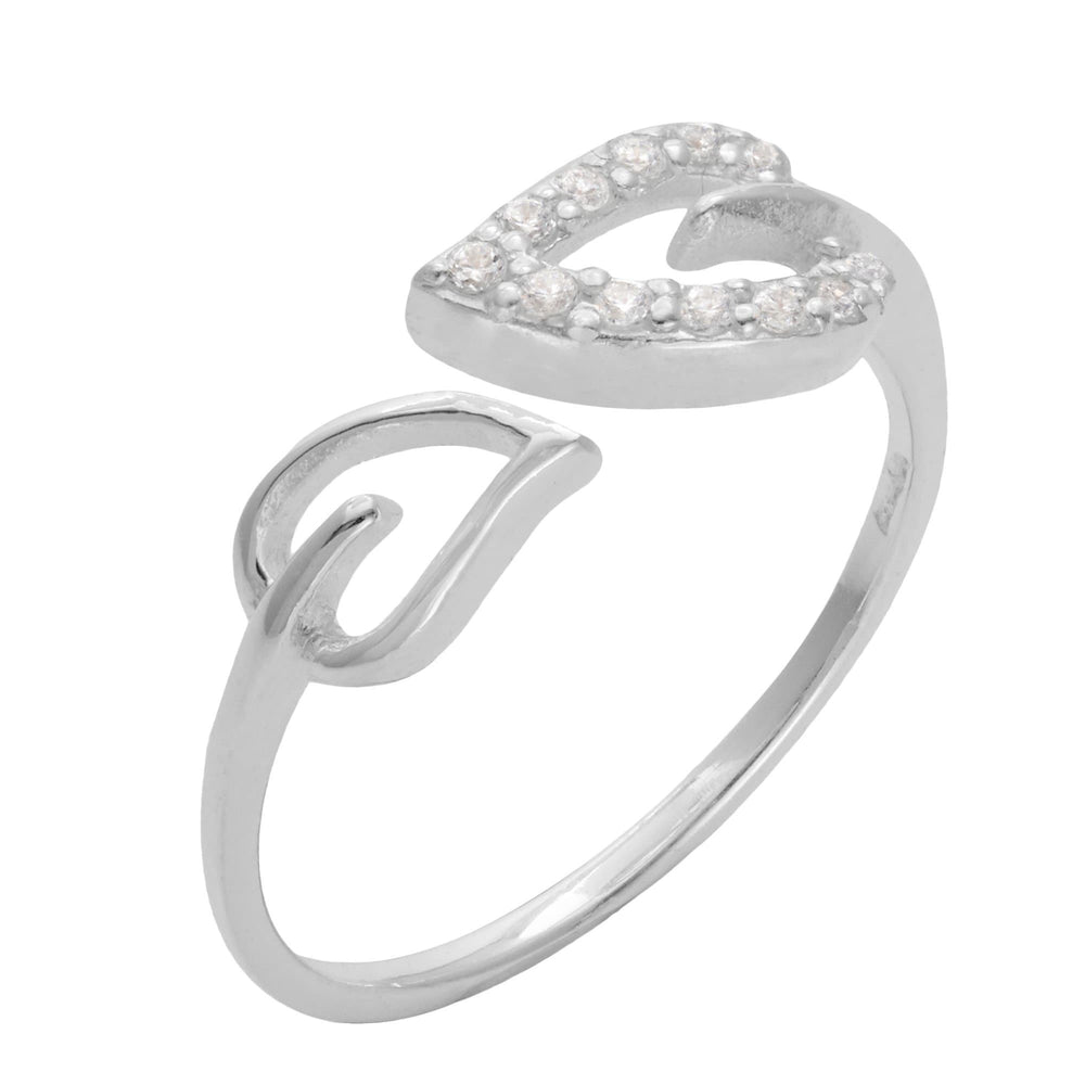 Sterling Silver 12 Cubic Zirconia Leaf Adjustable Ring