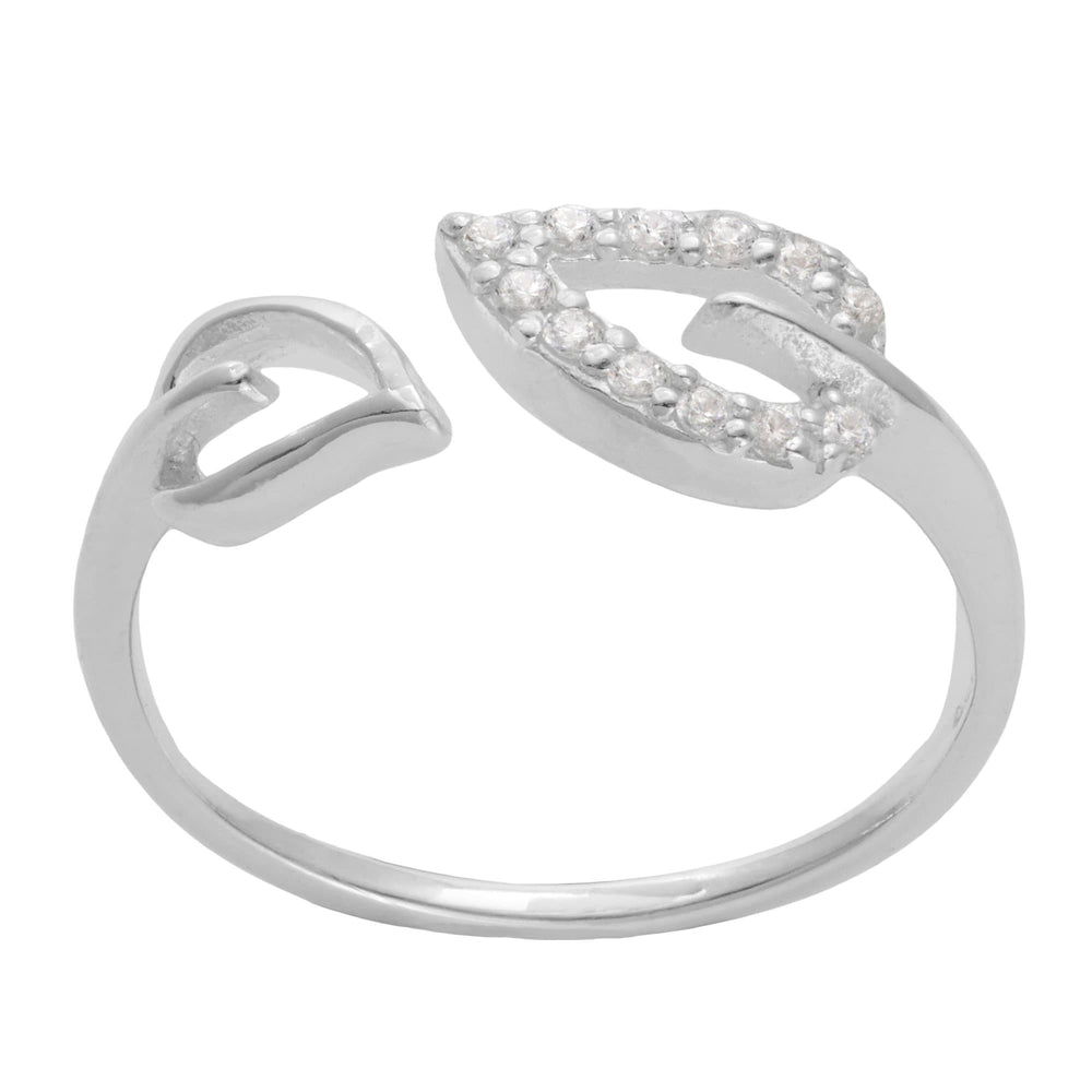 Load image into Gallery viewer, Sterling Silver 12 Cubic Zirconia Leaf Adjustable Ring