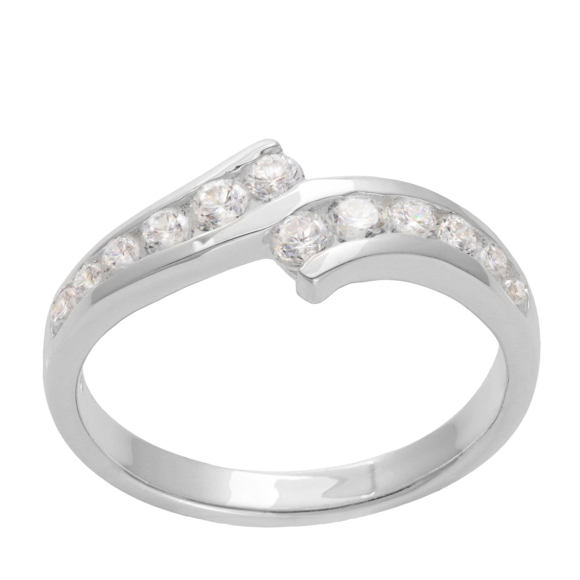 Silver Engagement Ring with Cubic Zirconia Overlapping Band Silverly